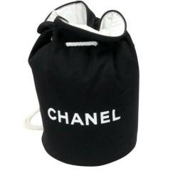 CHANEL DRAWSTRING CC LOGO BLACK/WHITE CANVAS LARGE BACKPACK