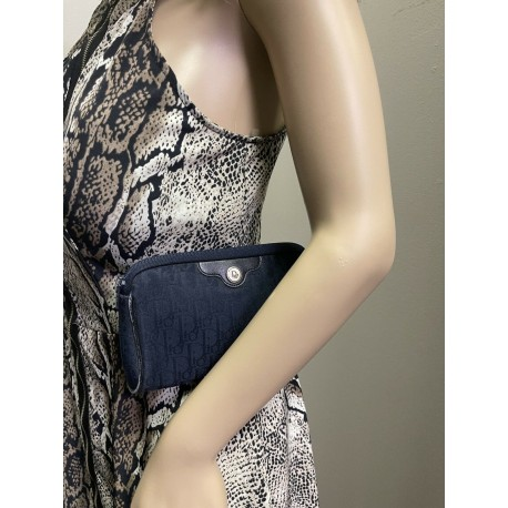 Christian Dior Trotter Canvas Clutch Navy Blue Pouch