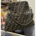 FENDI Zucca Monogram Canvas Buckle Tobacco Large HOBO Vintage Shoulder Bag