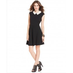 NWT BETSEY JOHNSON CAP SLEEVE PEARL COLLAR BLACK DRESS SZ 4 SOLD OUT