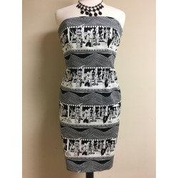 NEW DAVID MEISTER ABSTRACT PRINT BLACK & WHITE STRAPLESS COCKTAIL DRESS SIZE 6