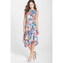 ADRIANNA PAPELL Stretch Fit & Flare FLORAL Asymmetrical Layered Dress SZ 8 SOLD OUT MSRP $140