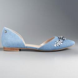 Simply Vera Vera Wang Women's Pointed D'Orsay Flats DEMIN BLUE RHINESTONE SZ 6 MED