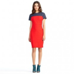 RACHEL ROY COLORBLOCK DENIM FITTED SHORT SLEEVE KNITTED DRESS SOLD OUT SMALL