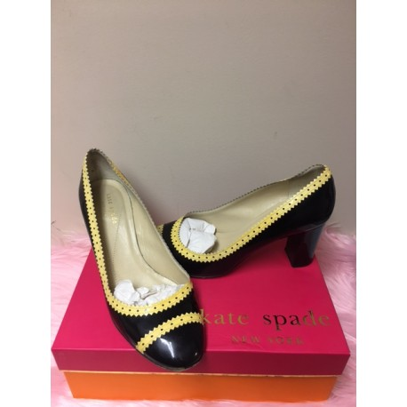 05245fceadb1 Kate Spade Stephie Black Cream Patent Leather Round Toe Chunky High Heel  Shoes SZ 8M