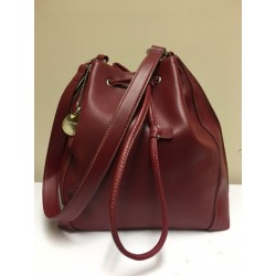 NINE WEST RED WINE FAUX LEATHER DRAWSTRING SHOULDER BAG GOOD