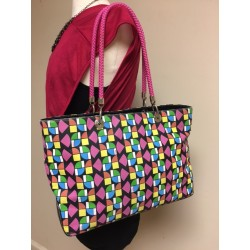 THE SAK MULTICOLORED GEOMETRIC PRINT NYLON PVC TOTE SHOULDER BAG