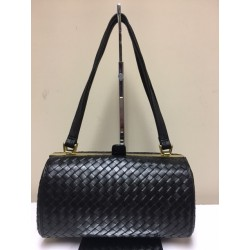 GANSON Vintage Woven Leather Black & Gold Barrel Shoulder Handbag 1980s
