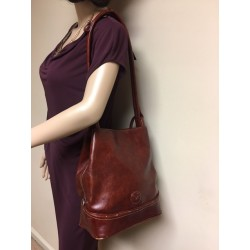 La Philipe Vintage Large Shoulder Burgundy Bucket Bag Adjustable Strap RARE