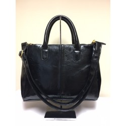 Harve Benard Black Multi Compartment Patent Leather Handbag Satchel Shoulder Bag GOOD
