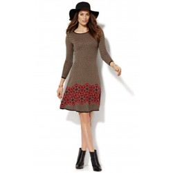 New York and Company Houndstooth/Floral Sweater Mini Dress XS SOLD OUT
