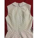 JEUNE LEIQUE by CHERBERG 1960's Vintage Cotton BLUE Polka Dot Pin up Dress MINT RARE XXS