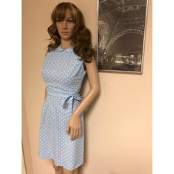 JEUNE LEIQUE by CHERBERG 1960's Vintage Cotton BLUE Polka Dot Pin up Dress MINT RARE XXS