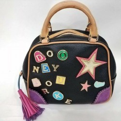 Dooney & Bourke Star Alphabet Charm 7 Bowler Tassel Black Leather Colorful Bag