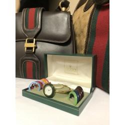 GUCCI 18kt GOLD Interchangeable Bezels Swiss Made Watch
