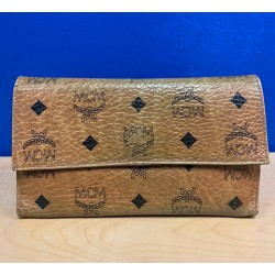 MCM Women Cognac Visetos Original Vintage Three Fold Large Wallet