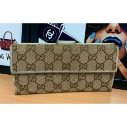 GUCCI GG Supreme Canvas Logo Bifold Fold Leather Beige Clutch Long Wallet