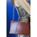 Cartier Must De GOLD Chain Clutch Vintage Bordeaux Leather Shoulder Handbag