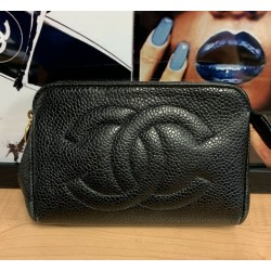 CHANEL CC LOGO CAVIAR Timeless Cosmetic Pouch Small MINI Black Coin Pouch