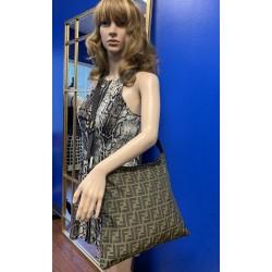 FENDI ZUCCA Brown Canvas ITALY Fabric Crossbody LARGE Vintage Bag