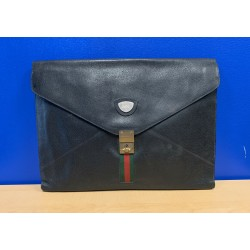 Gucci WEB Ophidia Black Leather BRIEFCASE 1970's Clutch