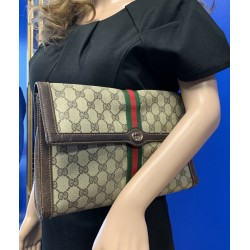 GUCCI GG SUPREME WEB OPHIDIA WEB Coated Canvas VINTAGE Clutch