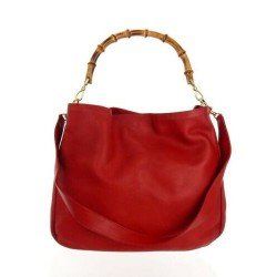 Gucci Diana Bamboo RED LEATHER Convertible Medium Vintage Shoulder Bag