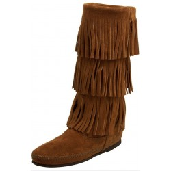 Minnetonka Womens 3-Layer Fringe Knee High Boot Tan Brown