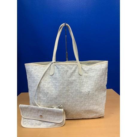 Goyard St. Louis PM White Goyardine Tote & Pochette Handbag