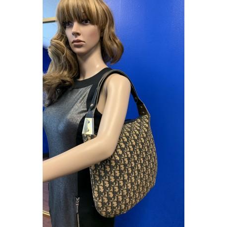 Christian Dior Trotter OBLIQUE Canvas 1970s Vintage NAVY Leather HOBO Bag